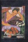 Stamps Spain -  La mujer y las flores- Pintor Alfredo Roldán     (M)