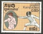 Stamps Cambodia -  Kampuchea - Deporte, esgrima