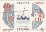 Stamps Spain -  Naves de Colón y Mapa de América   (Ñ)