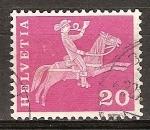 Sellos del Mundo : Europa : Suiza : cartero montado a caballo del sglo 19.
