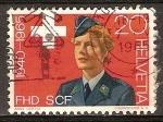 Sellos del Mundo : Europa : Suiza : 25a  aniv del Ejército cuerpo de Mujeres.