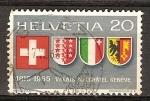 Sellos del Mundo : Europa : Suiza :  150a aniv de la entrada de Valais, Neuchatel y Ginebra a la Confederación Suiza.