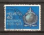 Sellos del Mundo : Europa : Suiza : 50 aniv de la Organización Internacional de Policía Criminal (Interpol).