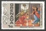 Stamps : America : Grenada :  Navidad 1976, La Anunciación de Botticelli