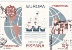 Sellos de Europa - España -  Europa-CEPT 1992 La Rábida,naves de Colón y mapa de América            (o)