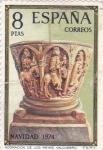 Stamps Spain -  NAVIDAD-74 Adoraciónde los reyes         (O)