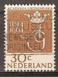 Sellos de Europa - Holanda -  350a Aniv de la Universidad de Groningen.AG monograma.