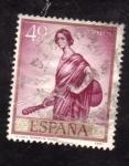 Stamps Spain -  La copla- Julio Romero de Torres- Día del Sello