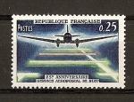 Sellos de Europa - Francia -  25 Aniversario del correo aereo de noche.