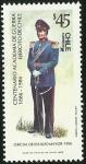 Stamps Chile -  CENTENARIO ACADEMIA DE GUERRA - OFICIAL DEL ESTADO MAYOR 1950