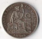 monedas de America - Perú -  01A - FIRME Y FELIZ POR LA UNION 1887