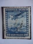 Stamps Chile -  Aereoplano Sobre Santiago