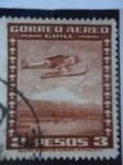 Stamps Chile -  Hidroavión y Volcán