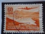 Sellos de America - Ecuador -  Laguna de San Pablo - Duglas DC-4