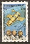 Stamps Cambodia -  SOYUZ  7  Y  ASTRONAUTAS