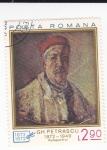 Stamps Romania -  Autoretrato Gh Petrascu