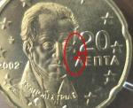 monedas del Mundo : Europa : Grecia :  GRECIA 20 cent. oreja incompleta s/c
