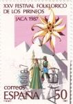 Stamps Spain -  XXV Festival Folckorico de los Pirineos Jaca 1987(Q)