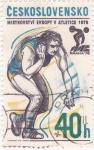 Stamps Czechoslovakia -  CAMPEONATO DE EUROPA DE ATLETISMO- PRAGA-78 Lanzamiento de Pesas