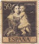 Sellos de Europa - España -  PINTURA- Rebeca y Eliezer   - (B.E.Murillo) (R)