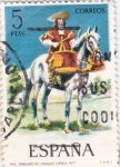 Stamps Spain -  Dragones a Caballo, timbalero 1647 -UNIFORMES MILITARES   (S)