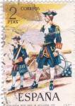 Stamps Spain -  Oficial de artillería 1710-UNIFORMES MILITARES   (S)
