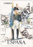 Stamps Spain -  Abanderado del Real Cuerpo de Artillería 1803-UNIFORMES MILITARES   (S)