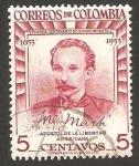 Stamps : America : Colombia :  498 - Centº del nacimiento de José Martí