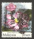 Sellos del Mundo : Asia : Malasia : 1409 - Flor de jardín.nelumbium nelumbo