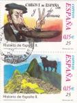 Stamps Spain -  Carlos I de España y V de Alemania y Francisco Pizarro-HISTORIA DE ESPAÑA II    (S)