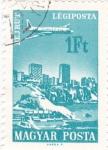 Sellos de Europa - Hungría -  Avión sobrevolando-Beirut
