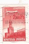 Sellos de Europa - Hungría -  Avión sobrevolando- Moscú