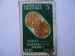 Sellos de America - Colombia -  Las Primeras Monedas de la República  - Independencia Nacional 1810-1960