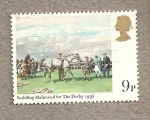 Stamps United Kingdom -  Ensillar caballo para  Derby 1936