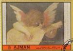 Stamps United Arab Emirates -  Rosso Florentino- Angel tocando la guitarra
