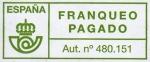 Stamps : Europe : Spain :  Franqueo Pagado. Aut. nº 480.151