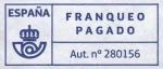 Stamps : Europe : Spain :  Franqueo Pagado. Aut. nº 280156