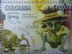 Stamps of the world : Colombia :  América-Upaep- Mitos y Leyendas- ¨El Ribiel¨-¨El Tesoro de Morgan¨(1/2)