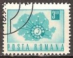 Sellos del Mundo : Europa : Rumania : Transp. y telecomu.-Teléfono de línea y Mapa.(p).