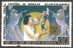 Sellos del Mundo : Asia : Corea_del_norte :  1904 - Festival Internacional del Circo, en Mónaco, Caballos y gato equilibristas