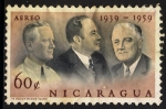 Sellos de America - Nicaragua -  Charles L. Mullins, Anastasio Somoza y Franklin D. Roosevelt