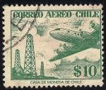 Sellos de America - Chile -  Torres de perforación petróleo y Douglas DC-6