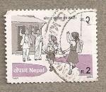 Stamps Nepal -  Niños al colegio
