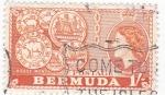 Stamps Bermuda -  Reina Isabel II y monedas