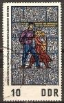 Sellos de Europa - Alemania -  Vidrieras,memorial Sachsenhausen:Batalla ilegal-DDR.