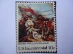 Stamps United States -  Bunker Hill 1775 by Trumbull - 200th anniversary (1775-1975)