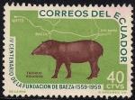 Sellos de America - Ecuador -  IV CENTENARIO DE LA FUNDACION DE BAEZA 1559-1959: TAPIRUS VILLOSUS Y MAPA.