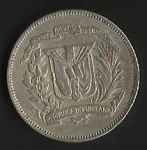 monedas de America - Rep Dominicana -  VEINTICINCO CENTAVOS  (CARA POSTERIOR)