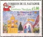 Sellos de America - El Salvador -  TORRE  DEL  RELOJ  Y  ESCENA  NAVIDEÑA