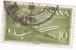 Stamps Spain -  Super-constelación y nao (V)
